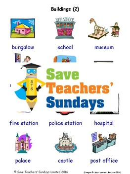 ESL Buildings Worksheets, Games, Activities and Flash Cards (with audio) 2