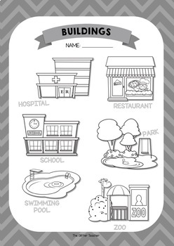 ESL Buildings vocabulary posters for years 1 & 2