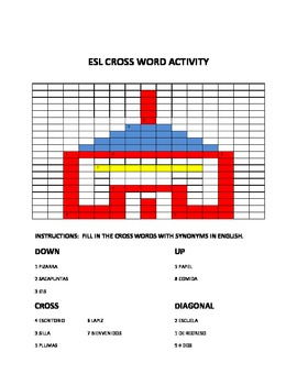 ESL CROSS WORD ACTIVITY