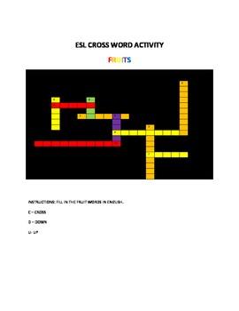 ESL CROSS WORD ACTIVITY
