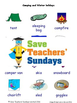 ESL Camping & Winter Holidays Worksheets, Games, Flash Cards & More (with audio)