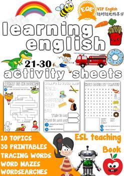 ESL Children's printable worksheets 21-30 Very Beginners