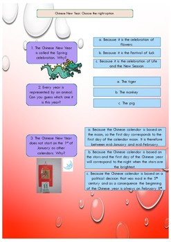 ESL Chinese New Year booklet for beginners-pre-intermediate