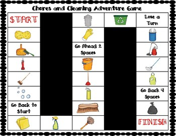 ESL Chores & Cleaning Vocabulary Board Game