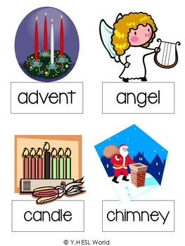ESL Christmas Cheer Freebie! {flashcards, games, verb/noun sort, hunt a word}