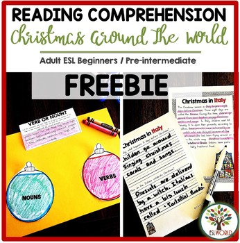 Christmas Reading Comprehension Around the World - ESL Activity Free