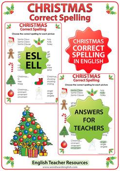 ESL Christmas Spelling Worksheet
