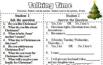 ESL Christmas Talking Time