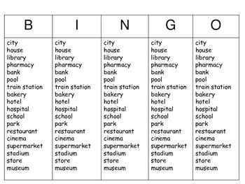 ESL City Bingo – The City Vocabulary in English