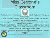 ESL Classroom Labels English, Polish, & Spanish