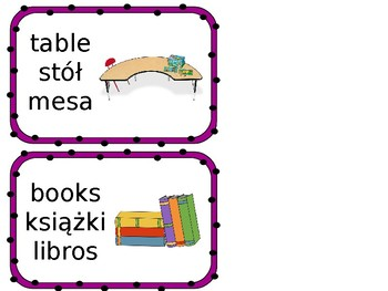 ESL Classroom Labels English, Polish, & Spanish
