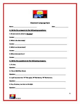 Classroom Language Handout, Activity and Quiz (Beg-Int)