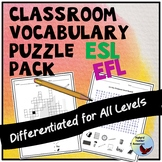 ESL Newcomers ESL Beginners ESL Games Classroom Vocabulary Puzzle Pack
