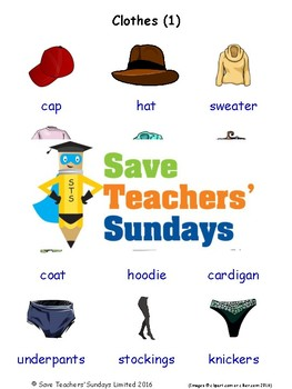 ESL Clothes Worksheets, Games, Activities and Flash Cards (with audio) 1