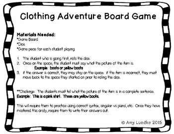 ESL Clothing Vocabulary Board Game