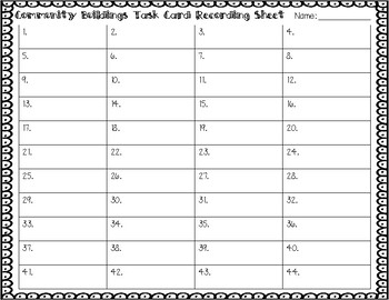 ESL Community Buildings Task Cards
