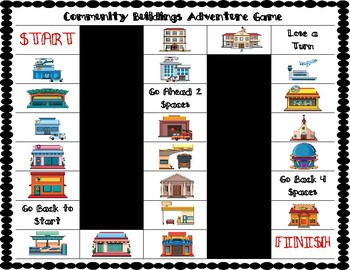 ESL Community Buildings Vocabulary Board Game
