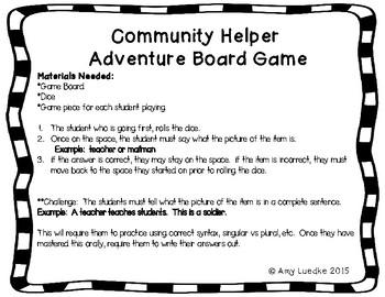 ESL Community Helpers Vocabulary Board Game