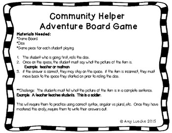ESL Community Helpers Vocabulary Board Game