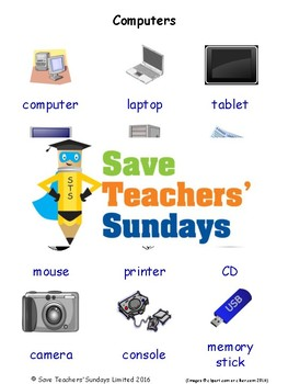 ESL Computers Worksheets, Games, Activities and Flash Cards (with audio)