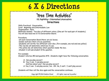 """ESL Conversation Boards:  """"Free Time Activities""""  Beg.  & Int."""