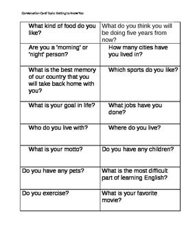 ESL Conversation Cards Levels 4-7