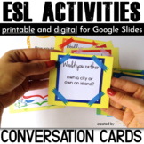 ESL Activities: Conversation Cards for Speaking {Would you rather questions}