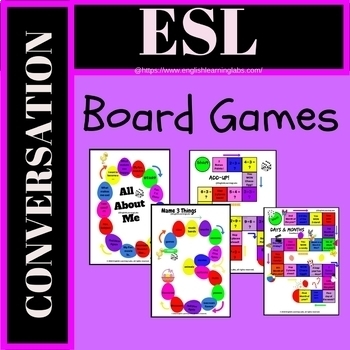 ESL Conversation / Speaking Activity Board Games Pack (Speaking Practice)