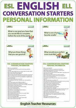 ESL Conversation Starters - Personal Information