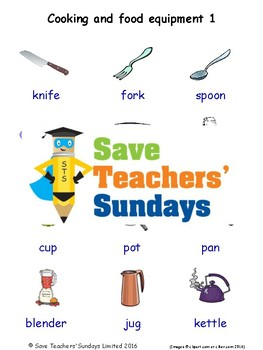 ESL Cooking & Food Equipment Worksheets, Games, Flash Cards & More (with audio)1