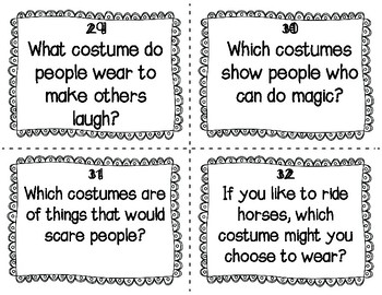 ESL Costumes Task Cards