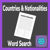 ESL- Countries and Nationalities Word Search