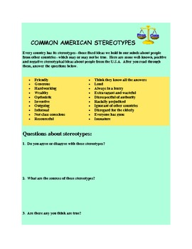 ESL Cultural Values Quiz and Stereotypes Activity