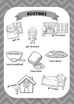 ESL Daily Routines vocabulary posters for years 3 & 4