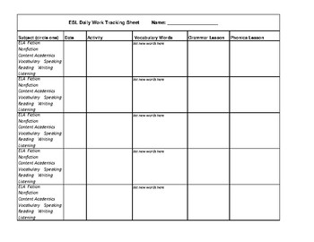 ESL Daily Tracking Sheet for Teachers and Students