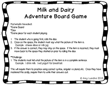 ESL Dairy Vocabulary Board Game