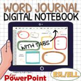 ESL Distance learning EDITABLE WORD JOURNAL / digital note