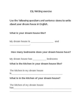 ESL Dream house writing prompt