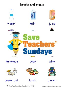 ESL Drinks and Meals Worksheets, Games, Activities and Flash Cards (with audio)