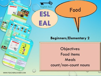 ESL EAL Food and meals (non)countable nouns lesson and wor