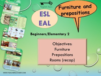ESL EAL Home, Furniture and prepositions, Unit 3 lesson 3