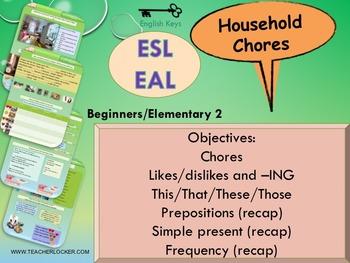 ESL EAL Home, Household chores, Unit 3 lesson 4 full lesson beginners