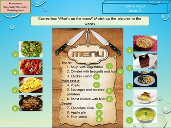 ESL EAL food: how much-many, ordering food, food habits