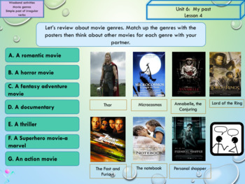 ESL EAL Past Simple and movies interactive activities