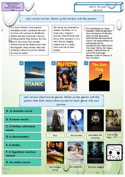 Past simple ESL - activities printable - Movies