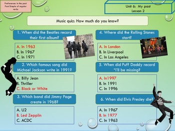 ESL EAL Past simple and music
