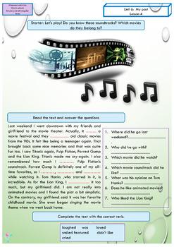 ESL EAL Simple Past regular and irregular verbs activities