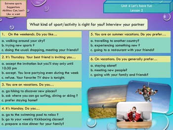 ESL EAL Freetime (Sports and ability) Unit 4 lesson 2 full lesson beginners