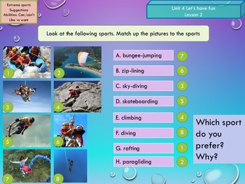 ESL EAL Freetime activities hobbies sports and abilities
