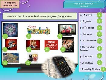 ESL EAL Freetime (TV-telling the time) Unit 4 lesson 4 full lesson beginners